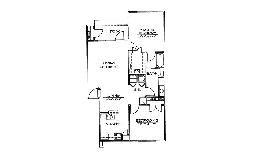 Bluejay - 2 bedroom floorplan layout with 1 bath and 950 square feet (1st floor 2D)