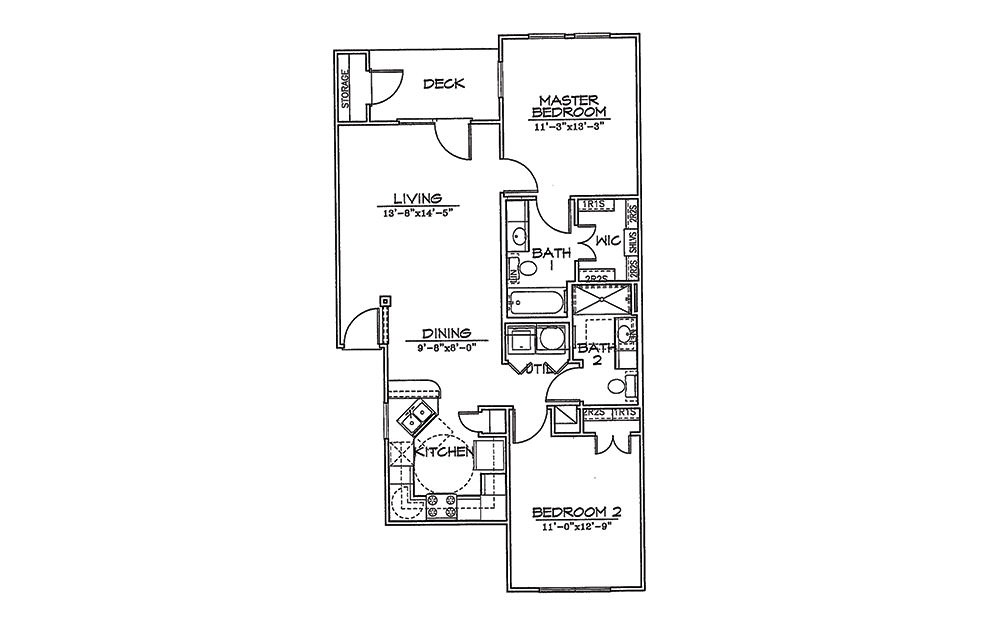 Cardinal - 2 bedroom floorplan layout with 2 bath and 968 square feet (1st floor 2D)