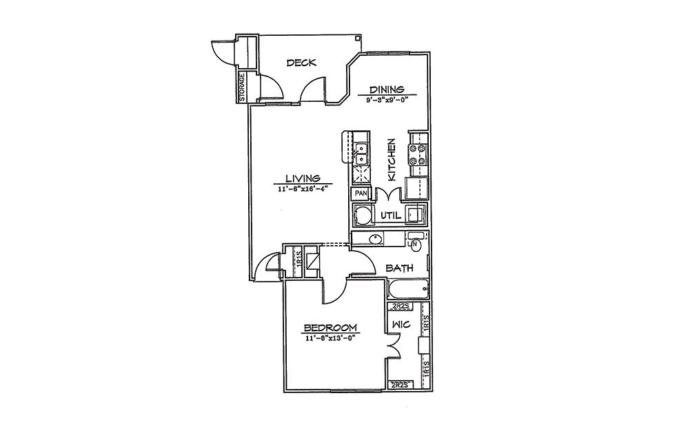 Hummingbird - 1 bedroom floorplan layout with 1 bath and 750 square feet (1st floor 2D)