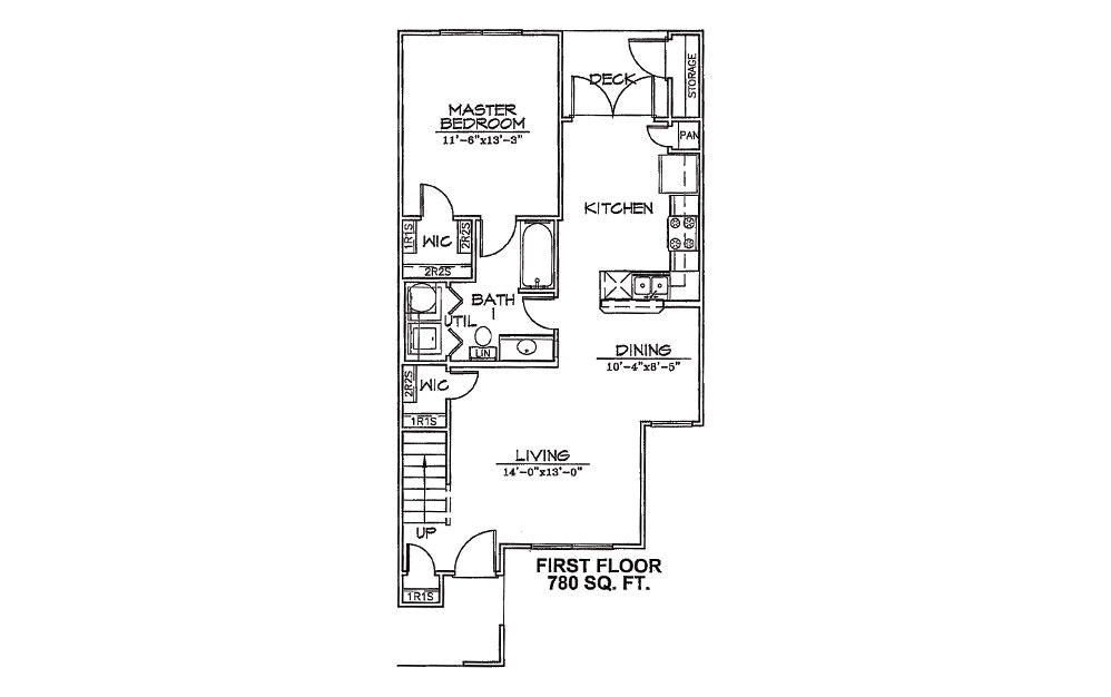 Meadowlark - 3 bedroom floorplan layout with 2 bath and 1255 square feet (1st floor 2D)