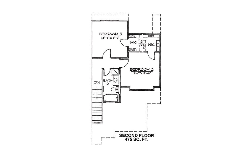 Meadowlark - 3 bedroom floorplan layout with 2 bath and 1255 square feet (2nd floor 2D)